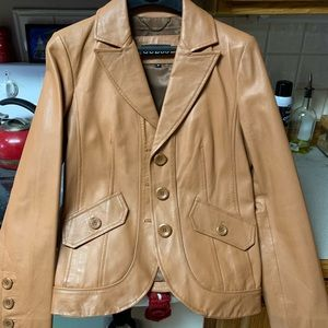 Guess Tan Leather Jacket Women
